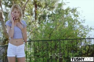 Блондинистая Hime Marie стонет от толстого пениса в дырках
